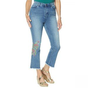 NWT Neon Embroidered Kick Flare Crop Jeans 12 Blue